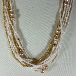 Vintage Multi-Strand White & Gold Necklace